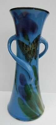 Antique Arts And Crafts Vase Hand Potted Twin Handles Butterfly Decor H 25cm