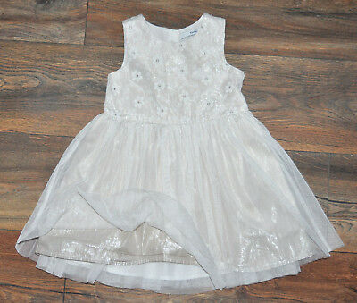 George Girl Gorgeous Floral Beige Silver Dress 2-3 Years Party Occasional