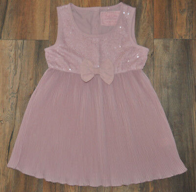 NEXT Girls Dusty Pink Plisse Top with Lace Sequins  and Bow 11 Years
