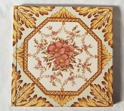 Pretty Victorian Symmetrical Floral Design Tile Colourful