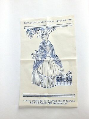 "VINTAGE 1930s EMBROIDERY TRANSFER Flower Seller Lady 9.25"" X 13"""
