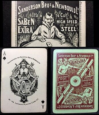 c1912 Antique Playing Cards Historic Tool Merchant Poker Deck 53/53 London PCC