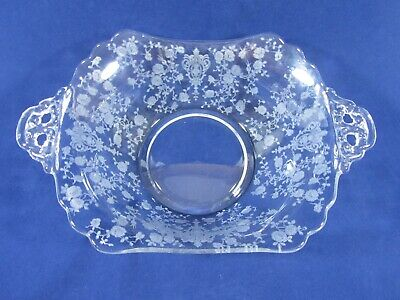 Antique Clear Victorian Glass Floral Etched Serving Bowl With Handles EUC