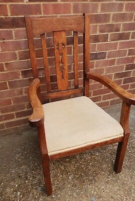 Antique Early  Arts Crafts Cotswolds Hand Made Oak Armchair Carver Tallback
