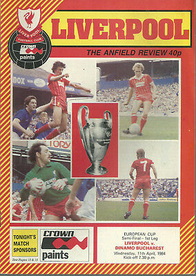 Liverpool F.c V Dinamo Bucharest 1984 European Cup Semi Final 1St Leg Programme