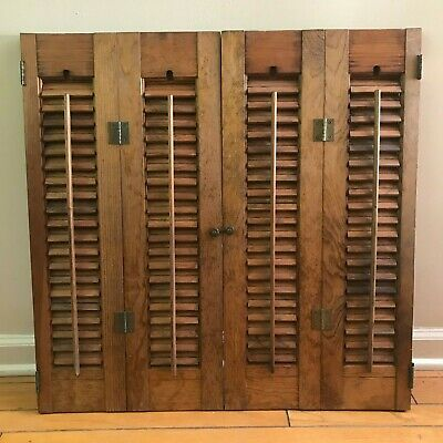 "26 3/4"" Tall X 27""W VTG Colonial Wood Interior Louver Plantation Window Shutters"