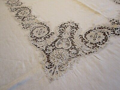 Antique Ivory Banquet Tablecloth W/ Guipure Needle Lace Insert Embroidered Mono