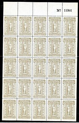 Weeda British Columbia BCL52 VF MNH complete pane of 25 Law Stamps CV $156
