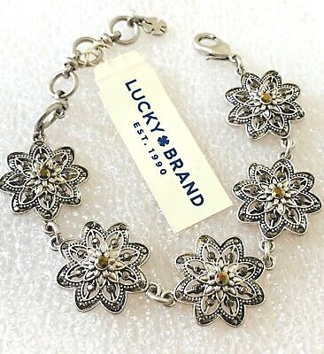 Lucky brand jewelry antique silver plated crystal bracelet. Length:8''