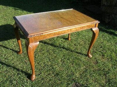 Vintage COFFEE TABLE Burr Walnut Glass Top Queen Anne Legs Upcycling Project
