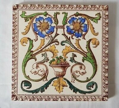 Outstanding Floral Fishes Design Victorian 6 Inch Tile. 19Th Century
