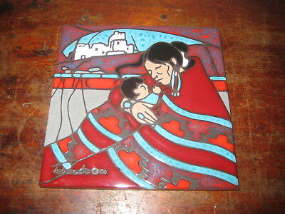 Tile Of A Native America Lady Holding Baby Very Colourful