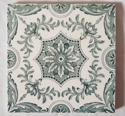 Symmetrical Floral Design Antique 6 Inch Tile