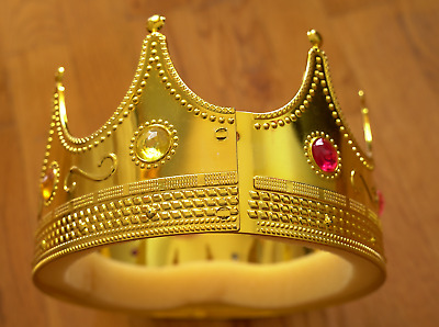 HALLOWEEN ADVENTURE - KING Regal Gold with Jewels Crown - Plastic - Cosplay OS