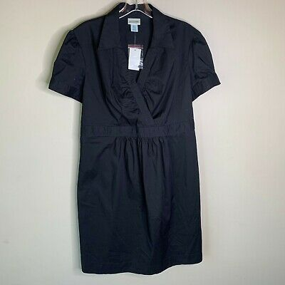 Motherhood Maternity Womens Dress Size Large Solid Black Short Sleeve NWT