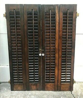 "31 3/4"" Tall X 24""W VTG Colonial Wood Interior Louver Plantation Window Shutters"