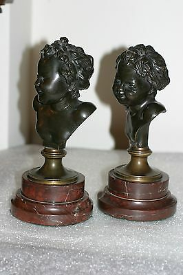 Pair  Of Antique French Patinated Bronze  Figuriines/ Statues, S. Clodion, 19C