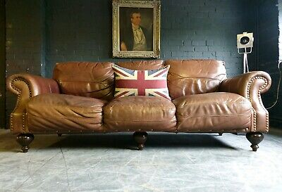 4025.Chesterfield Leather vintage & distressed 3 Seater Club Brown Sofa Courier.