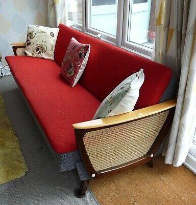 Fabulous Original 1950s Mid Century Danish Sofa Daybed, Teak + Red & Grey Boucle