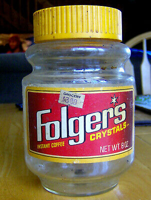 RARE vintage 1980s FOLGER'S CRYSTALS instant coffee GLASS JAR retro food product