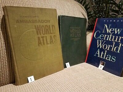Vintage Antique World Atlas Books, Lot of 3