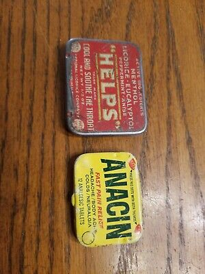 Vintage Helps National Licorice CO Red WHite Tin Throat Medicine and Anacin tin.