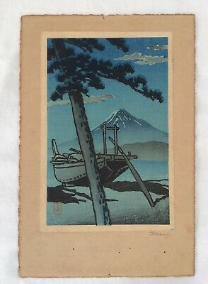 Hasui Signed Print Small Format Wood Block Pine Beach at Miho c 1930s