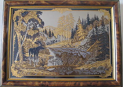 unknown artist~Mountain Scapes & A Deer~on solid metal plate~nicely framed