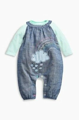 BNWT NEXT Baby Girls 2 Piece Denim Cloud Dungaree & Body Suit Set 0-3 9-12-18-24