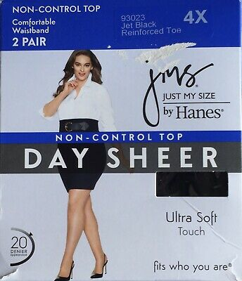 08c892e33eb jms Just My Size Women s Non Control Top Pantyhose 4x Jet Black 2 Pair NEW