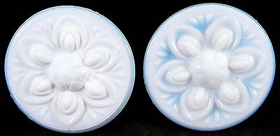 Pair of French Opalescent Glass Curtain Tie Backs / Knobs Lovely Art Deco Design