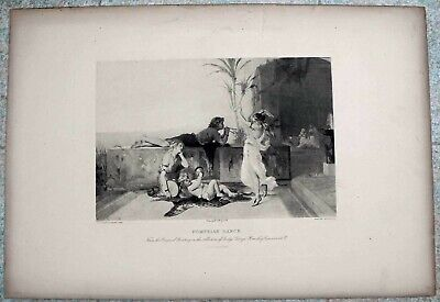 Antique Etching Art Print Titled: POMPEIAN DANCE  P.O. Joseph Coomans, PINX