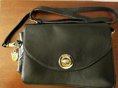 French.Co., Covina CA. USA Black Leather Crossbody Purse Turnlock Shoulder Bag