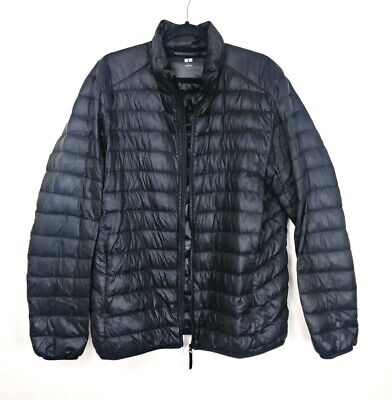 963f09e9 Uniqlo Mens Black Hooded Quilted Down Puffer Jacket Lightweight Packable  Size L
