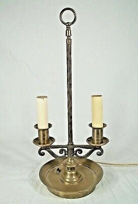Vintage Arts+Crafts Brass+Iron Double Arm Colonial Style Bridge Lamp