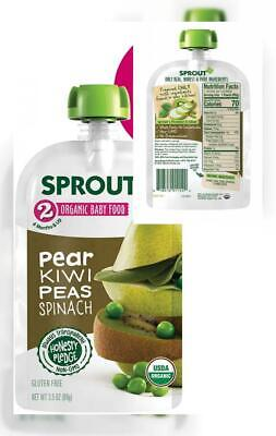 Sprout Organic Stage 2 Baby Food Pouches, Pear, Kiwi Peas, 3.5 Ounce (Pack...