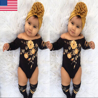 f4873f427 US 3PCS Newborn Baby Girl Off Shoulder Flower Romper+Leg Warmers Outfits  Clothes