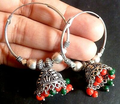 Antique Silver Plated Round Ring Orange Green Bead Jhumka Indian party Earrings