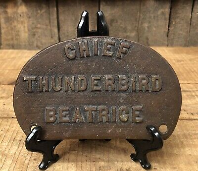 Vintage Antique Police Fire CHIEF Thunderbird Name Plaque Brass Sign