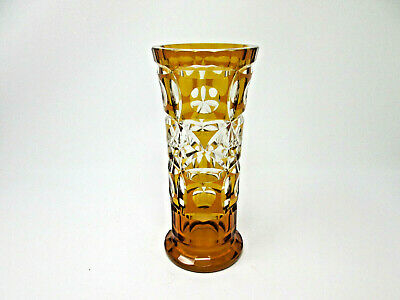 Antique BOHEMIAN Czech Amber Gold Crystal Overlay Cut to Clear ART Glass Vase