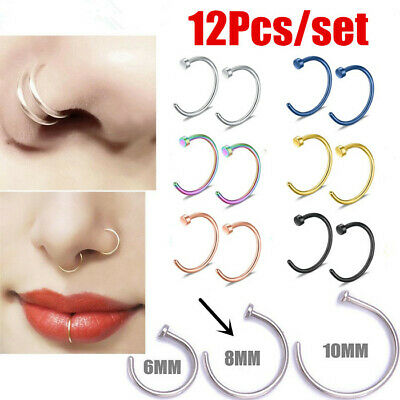 12Pc Surgical Steel Open Nose Ring Hoop Lip Ring Small Thin Piercing 8MM Perfect