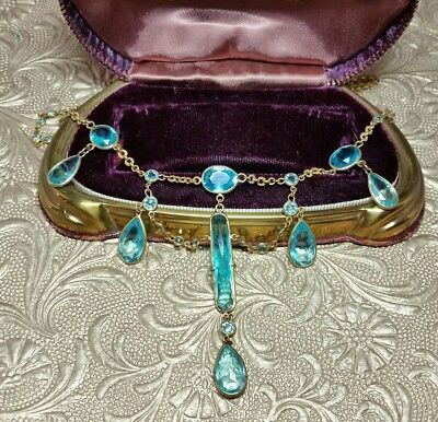 Vintage Antique Victorian Faceted Aqua Blue Glass Festoon Necklace