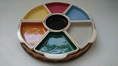 Retro Vintage enameled crockery Serving Dishes Platter Tray, Circa 1950's