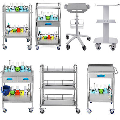 Medical Trolley Cart Serving Carts Trolley Big Drawer Portable Stainless Steel