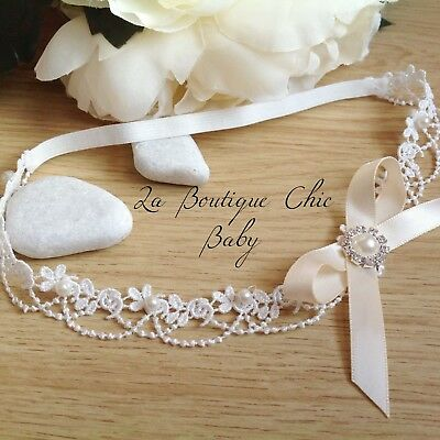 Baby Girl Off White Lace Pearl Headband Christening Baptism Wedding Flower girl