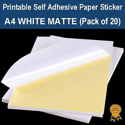 A4 Self Adhesive Paper Sticker Label Sheet Laser Inkjet Print - Matte (PK 20)