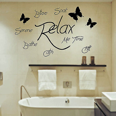 Soak Relax Bathe Art Mural Autocollant Citation Salle de Bain Bulles Toilette
