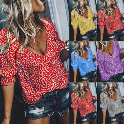 Women Summer Tops Floral Print Shirt Ladies Holiday Blouse T Shirt Size 6-16