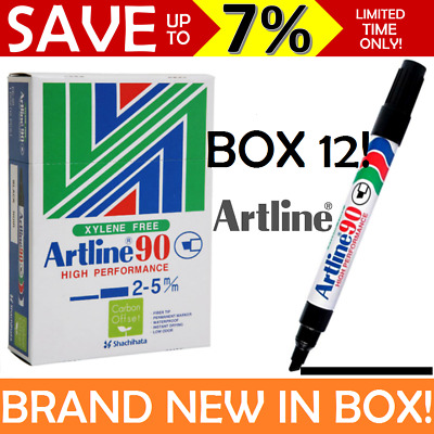 ARTLINE 90 NEW IN BOX SEALED 12x PERMANENT MARKER BLACK CHISEL TIP 2/5mm AUSTOCK