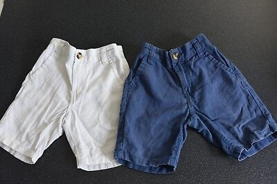 NEXT set of 2 short linen trousers. White and Blue. VCG. 3 years